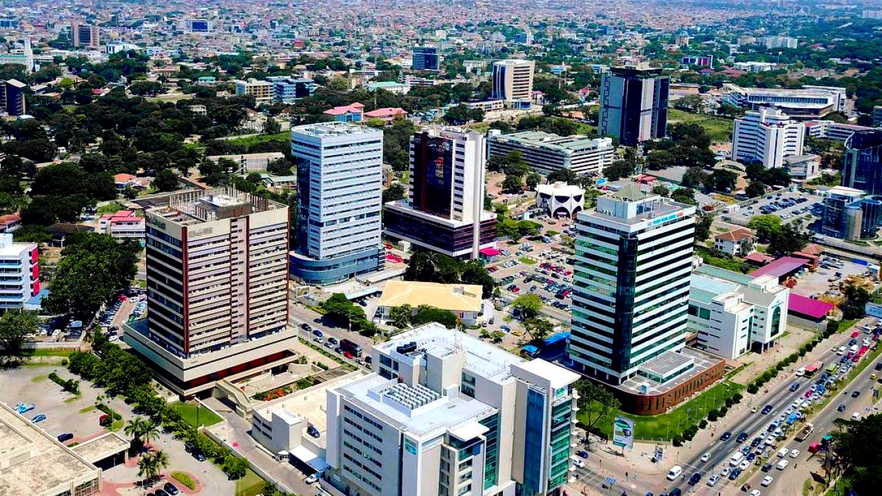 Aerial view of Accra's Central Business District (CBD)