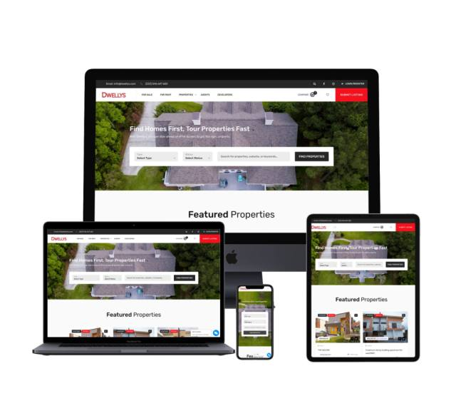 Dwellys real estate portal homepage on different devices, laptop, iMac, iPhone, iPad