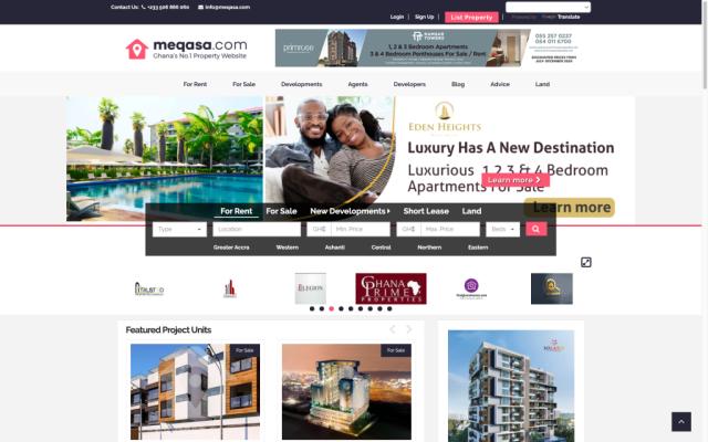 snapshot of meqasa.com, ghana's number one property website