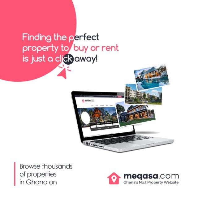 meqasa advertisement asking people to browse thousands of properties online