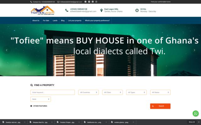 Tofiee.com online real estate portal in ghana